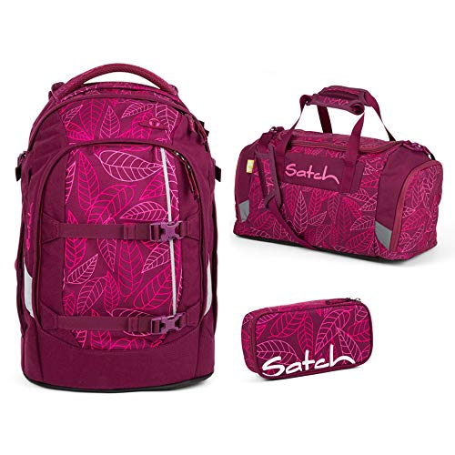 Satch Schulrucksack-Set 3-TLG Pack Purple Leaves Lila
