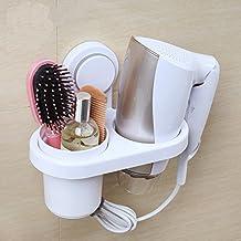Secador de pelo soporte, teerfu secador de pelo organizador estante accesorio de soporte, soporte de pared con taza, organizador de almacenamiento de baño baño accesorios