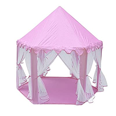 OUTAD Kinderspielzelt Kinderzelt Prinzessin Castle Spielzelt für Mädchen Drinnen und Draußen mit Hängenetzen, 140 x 135cm (Rosa)