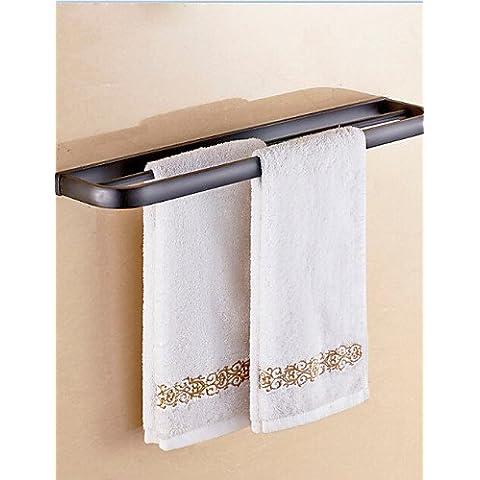 Antique Nero Materiale in ottone doppia barra asciugamano , nero