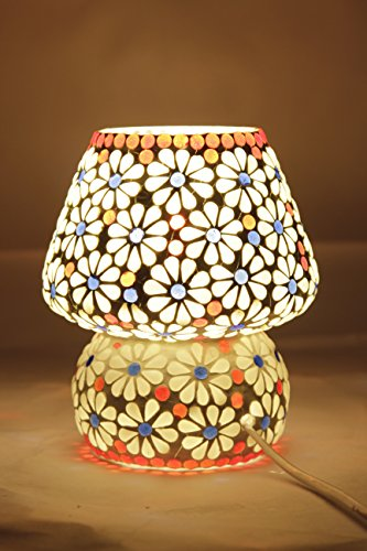 Table lamp Tiffany (Glitz), Hand made Table lamp, Ethnic Style (White Flower)