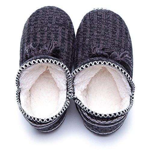 MaaMgic Warme Hausschuhe Damen Winter plüsch hausschuhe kuschelig lustige hausschuhe Black
