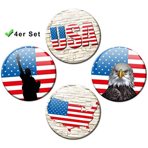 Kühlschrankmagnete Länder Flagge USA 4er Geschenk Set Amerika Magnete für Magnettafel Kinder stark groß Ø 50 mm -