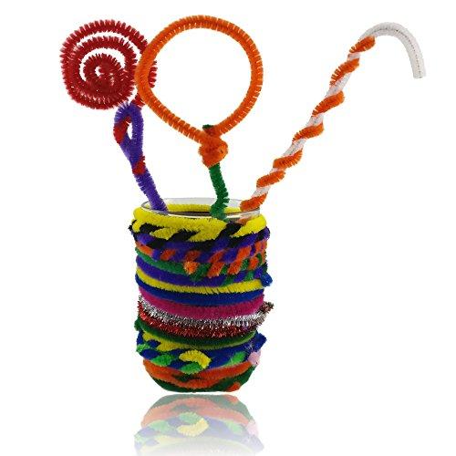 Bastelbär Pfeifenreiniger – 200 Pfeifenputzer – Chenilledraht inkl. 5 Glitzerfarben