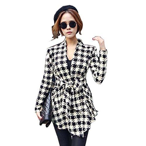 Yuan Damen Herbst Trenchcoat Mantel Langärmlig Cardigan Jacke Outwear (M, Black) (Falte Detail Cardigan)