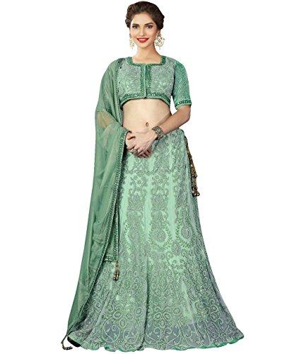 Indian Ethnicwear Bollywood Pakistani Wedding Light Pastel Green Flare Lehenga Semi-stitched