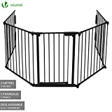 5 Panel Safety Barrier | Fireplace Screen | Fireplace Fence | Hearth Gate | Baby Safety Proof Guard | Pet Dog Cat Christmas Tree Fence | Wide Barrier Gate with Walk Through Door | Black