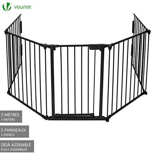 Barrière de sécurité enfant - GRANDE VERSION 3M | Barrière de protection cheminée | 5 panneaux - Pré-assemblé