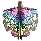 Lnefehsh Disfraz de Alas de Mariposa para Mujer,Lenfesh Adulto Mariposa Alas Chal Hada duendecillo Cosplay Capa Disfraces (168x135CM, Multicolor #2)