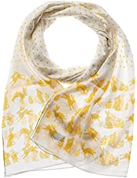Hare Scarf RSPCA Yellow Cream Hares Trees Print Wrap Ladies Cotton Blend Shawl
