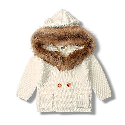 mimixiong Baby-Mädchen Strickjacke Mantel mit Kapuzenpullover Pelz Halsband(Weiß,6-12 Monat)