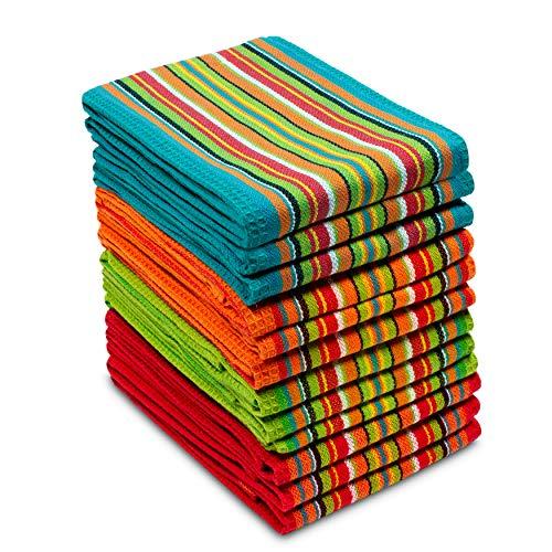 Baumwolle Craft 12Stück Salsa Streifen Multicolor Küche Handtücher 16x 28Pure 100Prozent Crate Barrel