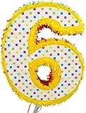 Folat 1 Piñata * Zahl 6 * für den 6. Kindergeburtstag // handgefertigt // Pi