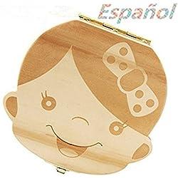 Atommy 1 Pcs Madera de Caja Almacenamiento de Dientes Leches Caja de Recién Nacidos Recuerdo para Bebés Regalos Español (Niña)