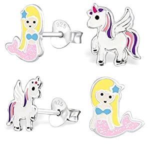 GH* 2 PAAR Pegasus Einhorn + Glitzer Meerjungfrau SET Ohrstecker 925 Echt Silber Mädchen Kinder Ohrringe Rosa, Lila, Weiß