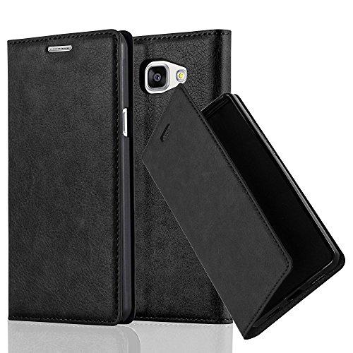 Cadorabo Custodia Libro per Samsung Galaxy A5 2016 in Nero di Notte – con Vani di Carte, Funzione Stand e Chiusura Magnetica – Portafoglio Cover Case Wallet Book Etui Protezione