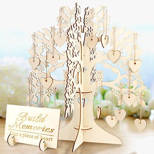 Aerwo Wishing Arbre de mariage livre d'or en bois 3d invités signer livre vintage Décorations de mariage