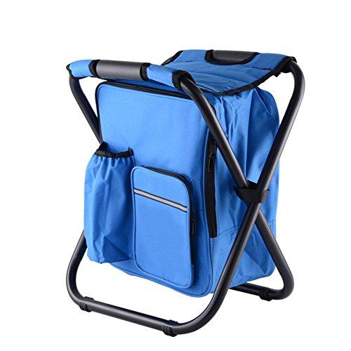 Klappbare Eisbank 3-in-1 im Freien Camping Klappstuhl Rucksack Stuhl Hocker Tasche Für Angeln und Wandern Touring Outdoor Events Reisen (blau) (Riemen Pvc-rohr)