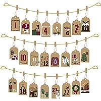 Hanging Envelope Advent Calendar - Vintage Style Brown Card