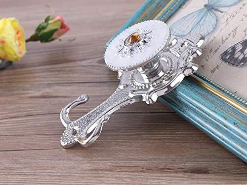 DinRoll Gardinenhaken mit Blumenmotiv, Wandhalterung, 2 Stück, Metall, Silber, 14X4cm