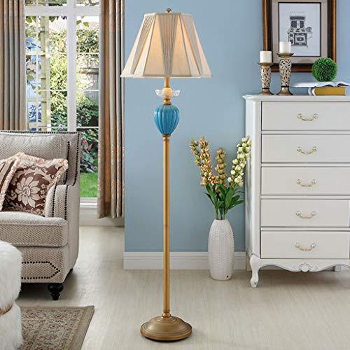 Lampadaires- Classique Télécommande Lampadaire Lumière De Style Américain De Luxe En Céramique Lampe De Table Salon Chambre Cristal Gravure Lecture Lampe