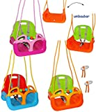 alles-meine.de GmbH mitwachsende - Gitterschaukel / Babyschaukel mit Gurt -  ROT / GELB / BLAU  - leichter Einstieg ! - verstellbar & mitwachsend - belastbar 100 kg - Kinderschaukel ab 1 Jahre - mit Seitenschutz & Rückenlehne - Schaukel für Kinder - Innen und Außen / Garten - für Baby´s - aus Kunststoff / Plastik - Mitwachsschaukel / Kunststoffschaukel - Sicherheitsgurt - Gitterschaukel / verstellbare Kleinkindschaukel - Baby - Indoor Outdoor