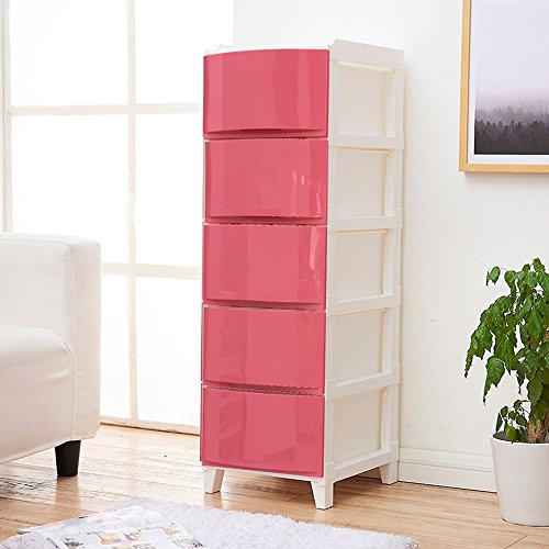 Global-DIY Cassetto Mobiletto Del Bagno Armadi Armadietti, Moda Piccolo Armadio Armadietti Di Plastica Comodino, PP Materiale Mini Comodino(33.5*42*108.5cm) ( colore : Rosso , dimensioni : 33.5*42*108.5cm )
