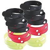 PEARL Moskito Armbänder: Größenverstellbares Anti-Mücken-Armband, 12er-Set (schwarz, rot, gelb) (Mückenarmbänder)