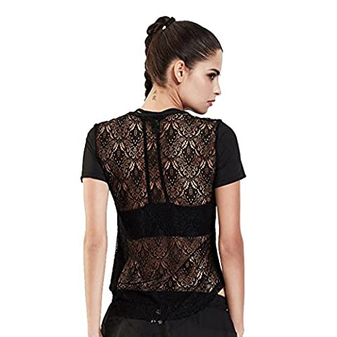 Byjia Frauen Sport Fitness Kurze Ärmel Lauf T-Shirt Outdoor Yoga Top Fitnessstudio Workout Hollow Lace Mesh Performance Kleidung . Black . L