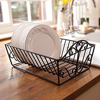 Cast Iron Plate Dish Display Rack Drainer - Finished in A Timeless Antique Brown 37cm (M158) & Wrought Iron Heart Plate Dish Drainer Rack 37 x 29 x 19cm: Amazon.co ...