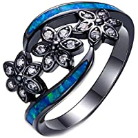 ZHJBD Fine jewelry/Black Gold Plated Women Rings Blue Opal Three Flowers for Girlfriend Lover Size L 1/2