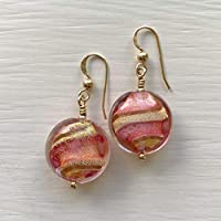Diana Ingram pink with gold dust over white pastel Murano glass small lentil 'smartie' (16mm) drop earrings on silver or gold ear wires.