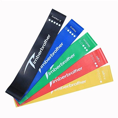 Timberbrother set di 5 fasce elastiche di resistenza / bande di esercizio per migliorare forza e mobilità, fitness, yoga, pilates o per riabilitazione, adatte a uomini e donne