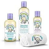 Lansinoh Earth Friendly Baby 4-in-1 STARTER-SET Kamile & Lavandel: Waschlotion, Schaumbad, Baby-Pflegeöl und Waschhandschuh