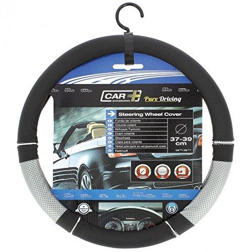 HABILL-AUTO Couvre Volant PVC Noir-Gris Car+ pour Volant 37/39cm