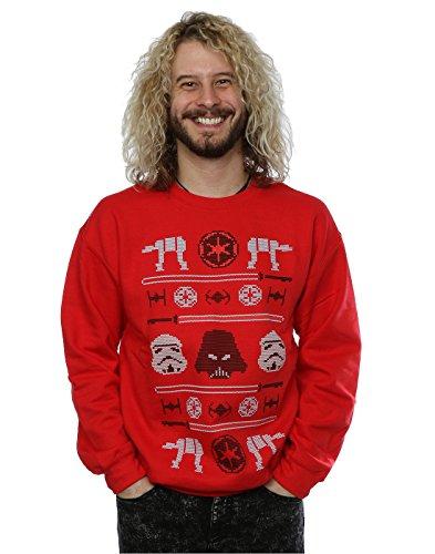Star Wars Uomo Christmas Imperial Fair Isle Felpa XX-Large Rosso