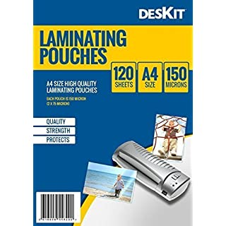 deskit DK121 A4 laminating film for laminator 150 mic, office and home, invitations print, 120 pieces