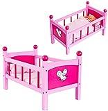 Unbekannt Puppenbett aus Holz - 50 cm lang - incl. Bettzeug und Kissen - für Puppen - rosa Holzbett Bett Baby - Puppe - Puppenstockbett Puppenbettchen / Puppenbettzeug