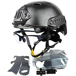 QHIU Casque Tactique Militaire SWAT Style Combat Protection PJ Casque et Lunettes pour CQB Tir Airsoft Paintball CS Sports de Plein air