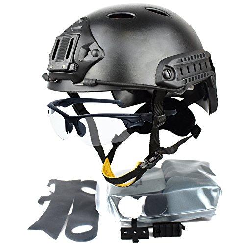 QHIU Taktisch Helme Armee Militär Combat PJ Typ Fast Schutzhelm mit Schutzbrillen Schnelle Helm für Airsoft Paintball SWAT War-Game CQB