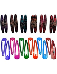 Fida Arts Daily Use Multicolor Metal Tic Tac Hair Clips For Girls And Women (Combo Of 12 Multicolor Textured &...