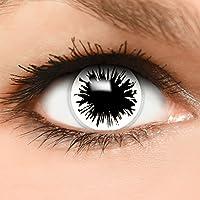 Farbige Kontaktlinsen  Shot  in weiß + Kombilösung + Behälter - Top Linsenfinder Markenqualität, 1Paar (2 Stück)