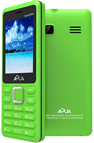 Aqua Spark 3000 - 3000 mAh Battery - Dual SIM Basic Mobile Phone - Green