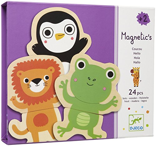 Djeco DJ03118 Magnetisches Puzzle mit Tier Spielzeug 24 Stück