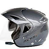 MJW Elektro-Motorrad Bluetooth Helm Doppel-Objektiv Halb Helm Motorrad-Helm Mit Bluetooth 3000 Mah,Gray