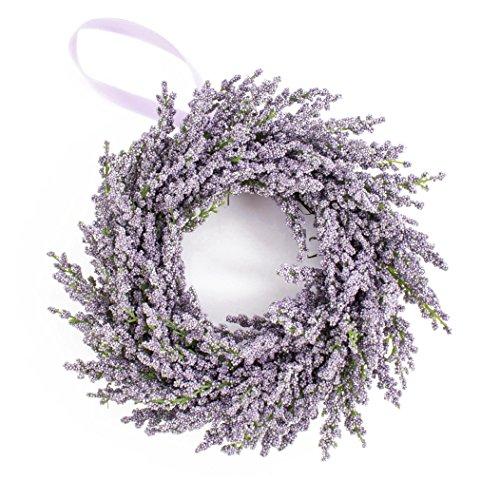 artplants - Deko Lavendelkranz auf Rattan, violett, Ø 25 cm - Künstlicher Kranz/Türkranz