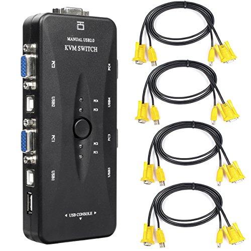 Conmutador KVM USB Adaptador - BAtech 4 puerto USB