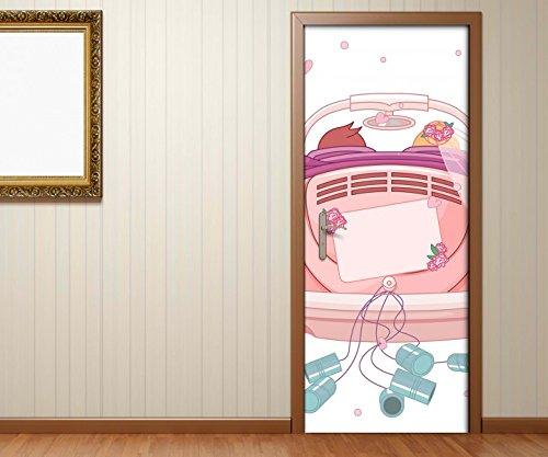 zimmer Liebe Hochzeit Auto Braut rosa Herzen Prinzessin Tür Folie Bild Türposter Türfolie Türtapete Türbild selbstklebend bunt Druck Aufkleber sticker 15B192, Türgrösse:67cmx200cm ()