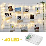 Amteker LED Photo Clip Guirlandes - 40 Photos Clips Alimenté par Batterie 5M Guirlande Lumière pour Décoration Accrocher Photos, Notes, Artwork, Mémos(Blanc Chaud)
