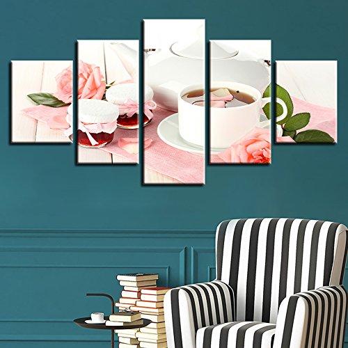 Wohnzimmer Fotos 5 Panel Pink/Malerei Wand Kunst modulare Poster Home Decoration Teppichrahmen, Groß ()